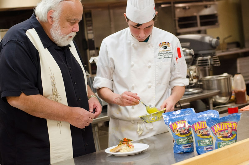 Chef Randy Cheramie with Paul Terrebonne plating his San Pelligrino Regional winning dish