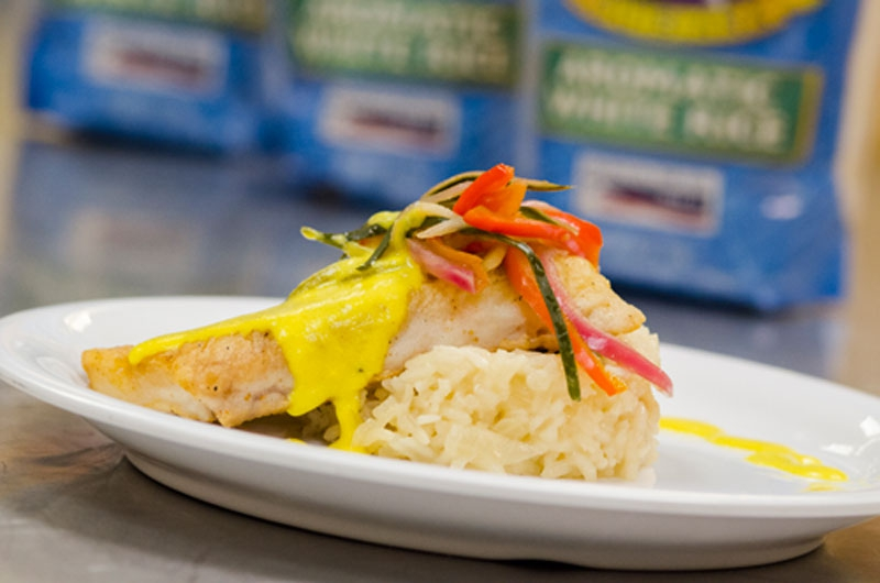 Sauteed LA Gulf Fish & Abita Beer braised Jazzmen Rice by Paul Terrebonne