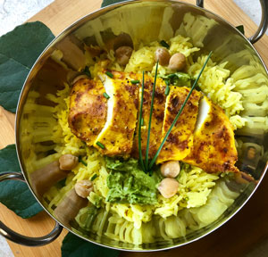Sous Vide Chicken Breast With Turmeric and Saffron Cilantro and Mint Chutney and Jazzmen Saffron Rice